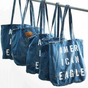 AEO Distressed Denim Tote Bag NWOT